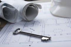 Architekta worplace odgórny widok Architektoniczny projekt, projekty, projekt rolki i divider kompas, klucz, puste miejsce Fotografia Stock