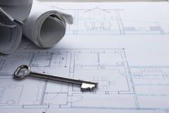 Architekta worplace odgórny widok Architektoniczny projekt, projekty, projekt rolki i divider kompas, klucz, puste miejsce Obraz Stock