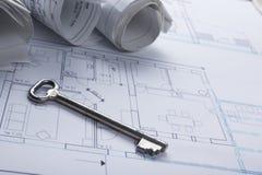 Architekta worplace odgórny widok Architektoniczny projekt, projekty, projekt rolki i divider kompas, klucz, puste miejsce Obrazy Stock