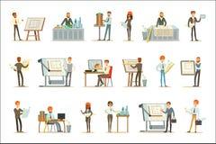 Architekta zawód Ustawiający Wektorowe ilustracje Z architektami Projektuje projekty I projekty Dla Budować royalty ilustracja