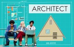 Architekten-Architecture Design Infrastructure-Bau Concep Lizenzfreie Stockfotos