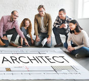 Architekten-Architecture Design Infrastructure-Bau Concep Stockfotografie