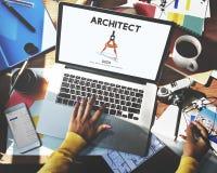 Architekten-Architecture Design Infrastructure-Bau Concep Lizenzfreies Stockbild
