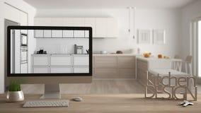 Architektendesigner-Projektkonzept, Holztisch mit Hausschlüsseln, Buchstabeküchendesign und das Tischplattendarstellen entwerfen  stockfotografie