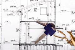 Architektenprojekt-Zeichnungsplan lizenzfreie stockfotos