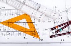 Architektenprojektzeichnung stockfotografie