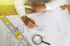 Architektenpunkt am Plan Stockbild