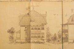 Architektenskizze des Hauses Stockbild