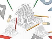 Architektoniczna ręka rysujący biurko projekt z setem narzędzia royalty ilustracja
