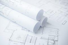 Architektoniczne rysunkowego papieru rolki mieszkanie Zdjęcie Royalty Free
