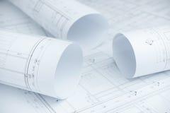 Architektoniczne rysunkowego papieru rolki mieszkanie Obrazy Royalty Free
