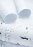 Architektoniczne rysunkowego papieru rolki mieszkanie Zdjęcia Royalty Free