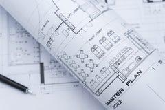 Architektoniczne rysunkowego papieru rolki mieszkanie Fotografia Royalty Free