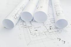Architektoniczne rysunkowego papieru rolki mieszkanie dla budowy Obrazy Royalty Free
