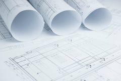 Architektoniczne rysunkowego papieru rolki mieszkanie dla budowy Obrazy Stock