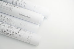 Architektoniczne rysunkowego papieru rolki mieszkanie dla budowy Zdjęcie Royalty Free
