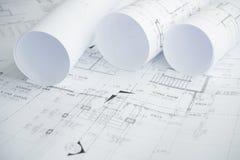 Architektoniczne rysunkowego papieru rolki mieszkanie dla budowy Zdjęcia Royalty Free