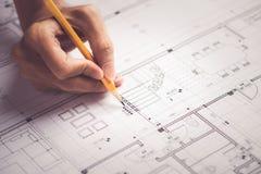 Architektonicznego projekta i projekta projektów rysunki Fotografia Stock