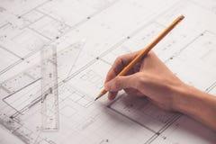 Architektonicznego projekta i projekta projektów rysunki Obraz Stock