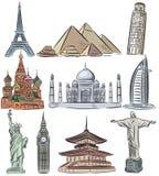 Architektoniczni cudy światowa kolekcja ilustracji
