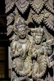 Architektoniczni czerepy wystawiający w Patan Museumi w Patan Darbar kwadracie, Nepal zdjęcie stock