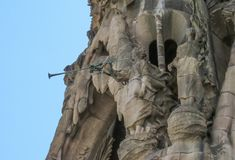 Architektoniczni elementy fasada Ekspiacyjna świątynia Święta rodzina Barcelona Zdjęcia Stock