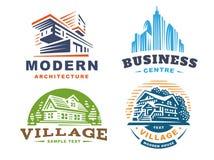 Architektoniczni emblematy Ustawiający na białym tle royalty ilustracja
