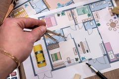 Architektoniczni plany dla projekta rysunku Zdjęcie Royalty Free