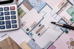 Architektoniczni plany dla projekta rysunku z ołówkiem, Zdjęcie Royalty Free