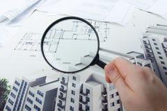 Architektoniczni projekty, projekt rolki i powiększać, - szkło na białym tle Obraz Royalty Free