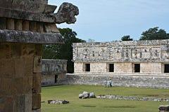 Architektoniczni szczegóły nunnery budynek w Uxmal yucatan Zdjęcie Royalty Free