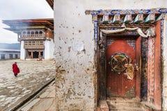 Architektoniczni szczegóły przy Gangtey monasterem Obrazy Royalty Free