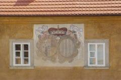 Architektoniczni szczegóły w Cesky Krumlov Zdjęcia Royalty Free