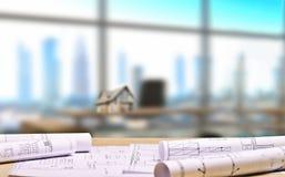 Architektoniczny biuro z budynków planami obrazy royalty free