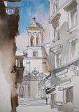 Architektoniczny nakreślenie dzwonkowy wierza świętego Mary Draperis kościół ilustracja wektor