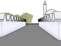 Architektoniczny nakreślenie rysunku budynku model ilustracji
