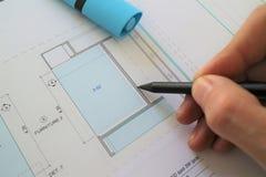 Architektoniczny ołówkowego rysunku planu projekt Fotografia Royalty Free