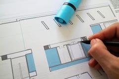 Architektoniczny ołówkowego rysunku planu projekt Zdjęcia Royalty Free