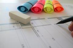 Architektoniczny ołówkowego rysunku planu projekt Obraz Royalty Free