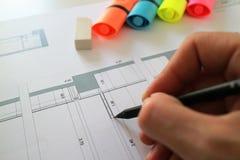 Architektoniczny ołówkowego rysunku planu projekt Fotografia Stock
