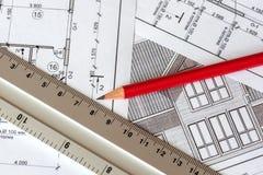 Architektoniczny plan dom drukuje na białym prześcieradle papier Czerwiec 2018, Rosja, Mosco fotografia royalty free