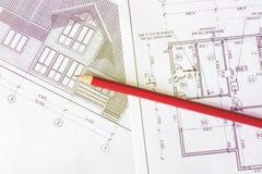 Architektoniczny plan dom drukuje na białym prześcieradle papier Czerwiec 2018, Rosja, Moskwa obrazy royalty free