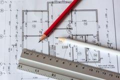 Architektoniczny plan dom drukuje na białym prześcieradle papier Czerwiec 2018, Rosja, Moskwa fotografia royalty free