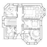 Architektoniczny plan dom Układ mieszkanie z meble w rysunkowym widoku ilustracji