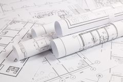 Architektoniczny plan Konstruować domowych rysunki i projekty zdjęcie royalty free