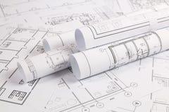 Architektoniczny plan Konstruować domowych rysunki i projekty zdjęcia royalty free