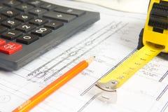 Architektoniczny projekt i kalkulator Obraz Royalty Free