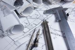 Architektoniczny projekt, projekty, projekt rolki Zdjęcie Stock