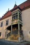 Architektoniczny szczegół na urząd miasta na RadniÄ  né nà ¡ mestie w Bardejov obraz stock