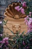 Architektoniczny szczegół fontanny Tragiczna maska w Oleandrowych kwiatach Zdjęcia Stock